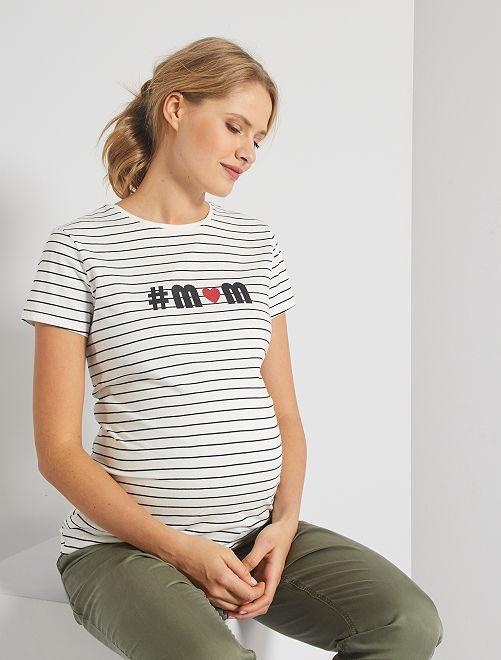 T-shirt de maternité 'éco-conception'                                                                                                                 écru rayé