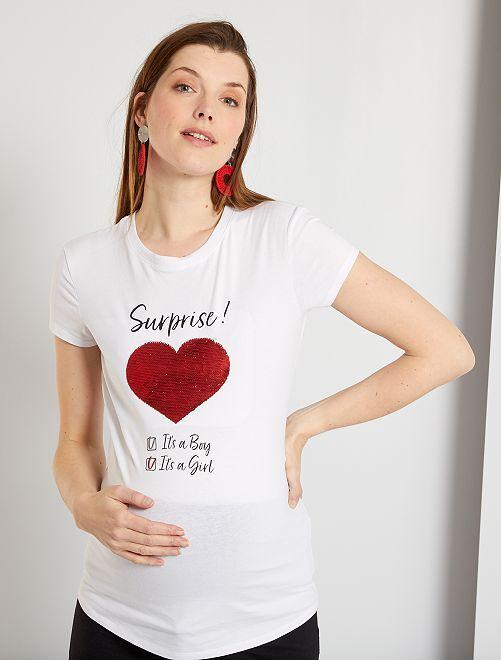 T-shirt de maternité éco-conçu 'annonce'                                                     blanc