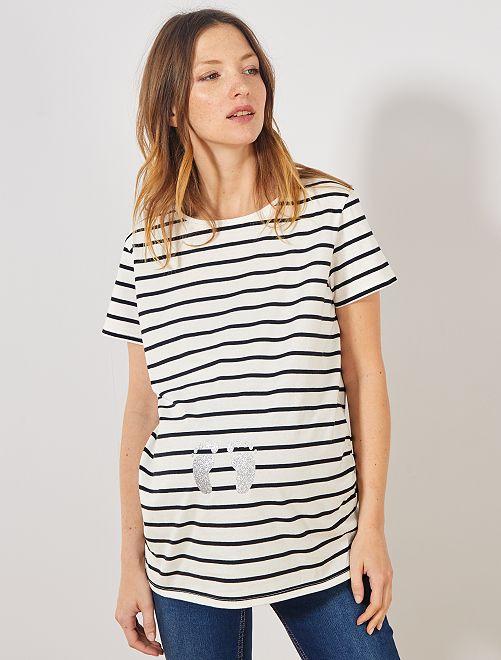 T-shirt de maternité éco-conçu                             blanc rayé