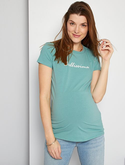 T-shirt de maternité éco-conçu                                                                                                         bleu glacier