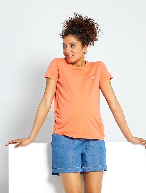 T-shirt de maternité éco-conçu                     corail