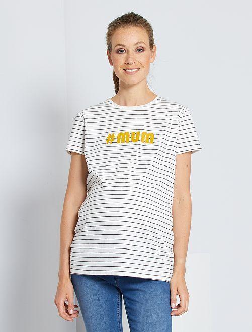T-shirt de maternité éco-conçu                                                     écru rayé