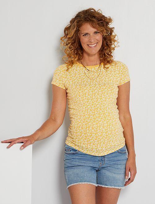 T-shirt de maternité éco-conçu                                                                                                                                                                                         jaune fleuri