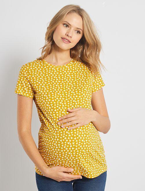T-shirt de maternité éco-conçu                                                                                 moutarde coeur
