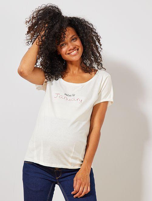 T-shirt de maternité en coton bio                                                                                                                                                                 janvier Vêtement de grossesse