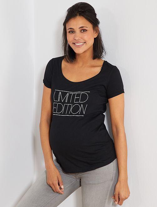 T-shirt de maternité en coton bio                                                                             noir