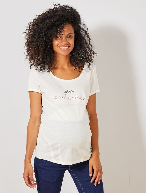 T-shirt de maternité en coton bio                                                                                                                                                                 septembre Vêtement de grossesse