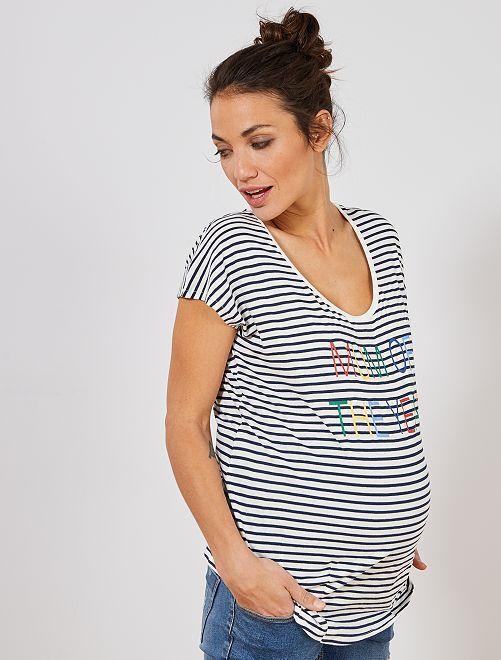 T-shirt de maternité en coton biologique imprimé                                                                             rayé bleu Femme