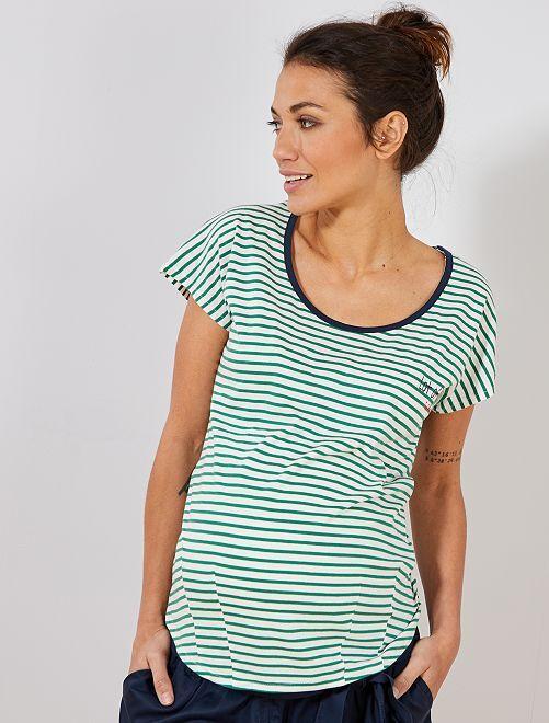 T-shirt de maternité en coton biologique imprimé                                                                             rayé vert Vêtement de grossesse
