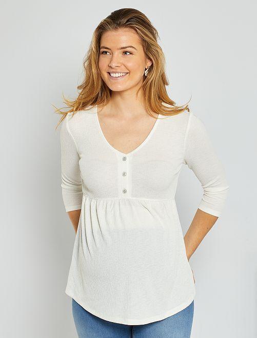 T-shirt de maternité en crêpe                                         blanc