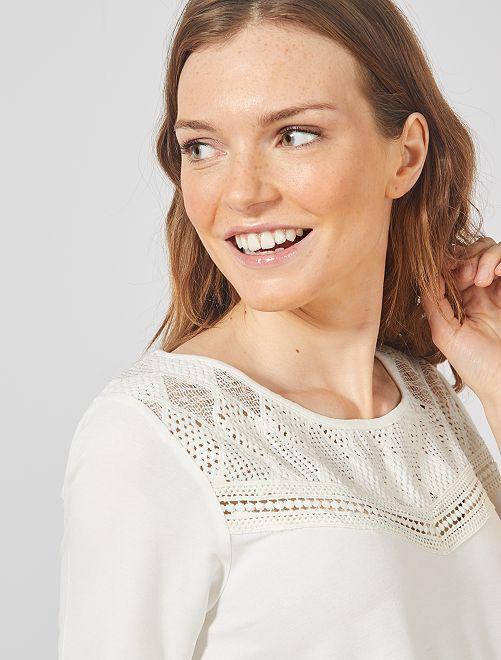 T-shirt de maternité en dentelle                                         blanc