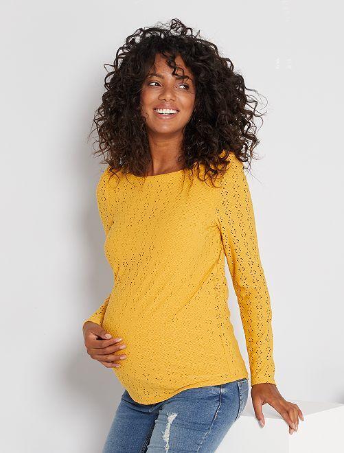 T-shirt de maternité en maille ajourée                             jaune