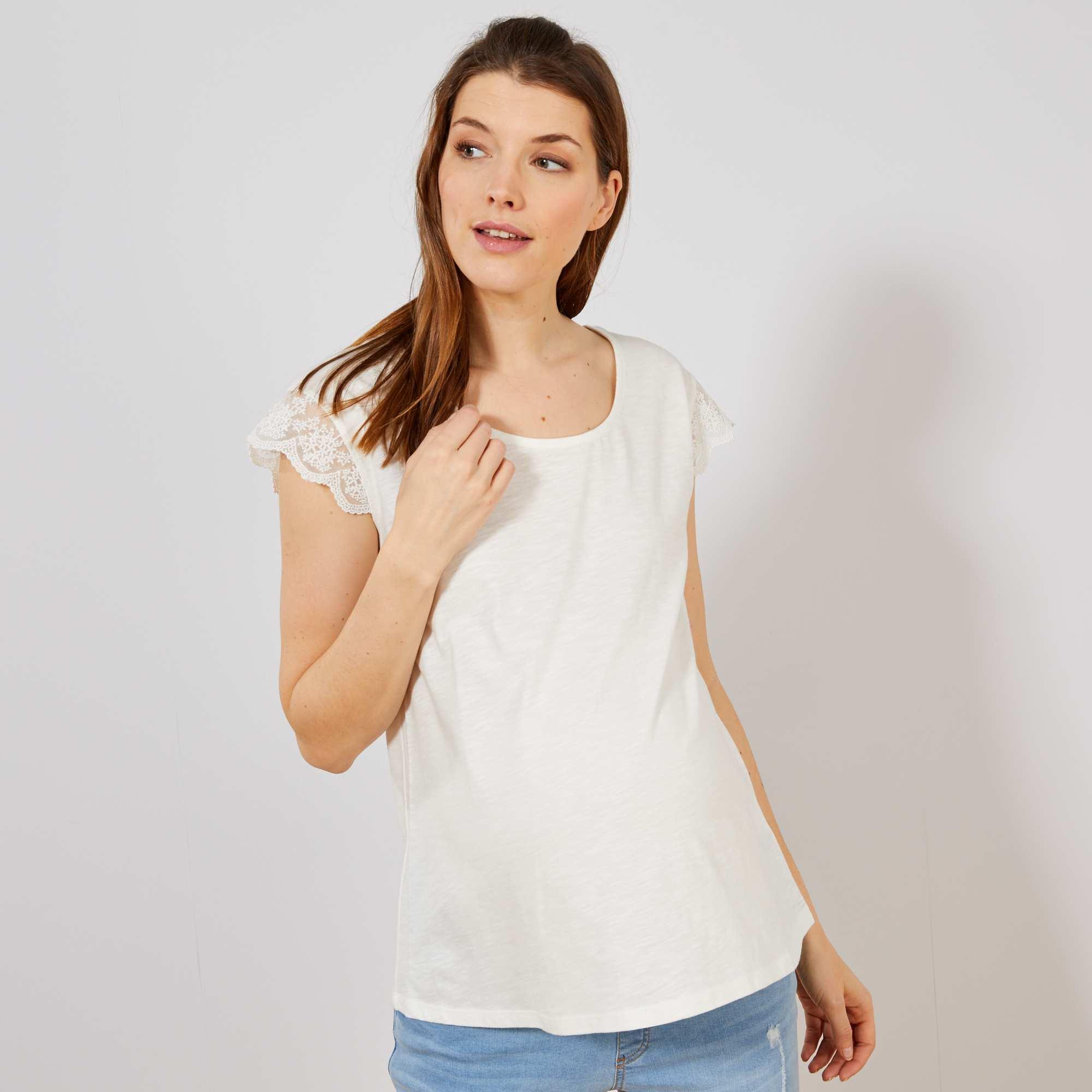 Manches Shirt T Blanc De Kiabi Maternité Dentelle 5 Femme Szuqvpm 40€ thrdCsQ