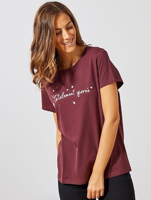 T-shirt de Noël                                                                                                                 bordeaux givrée