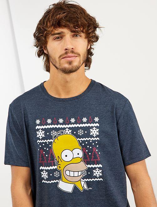 T-shirt de Noël 'Les Simpson'                             bleu pétrole chiné