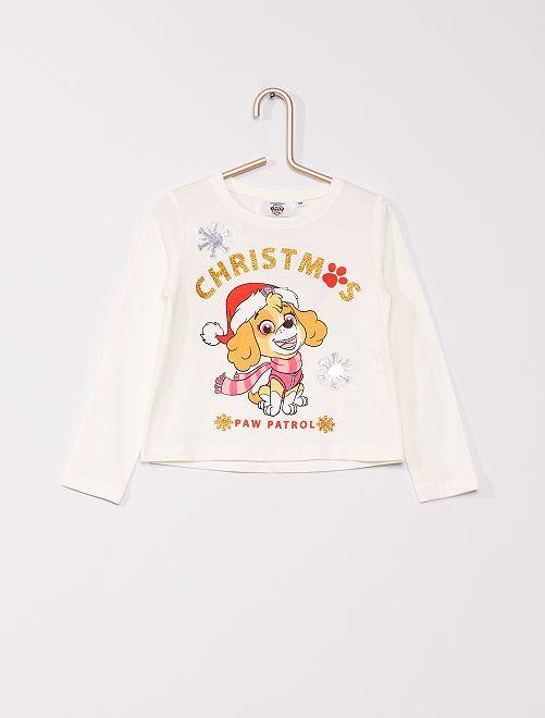 T-shirt de Noël 'Pat' Patrouille'                             blanc