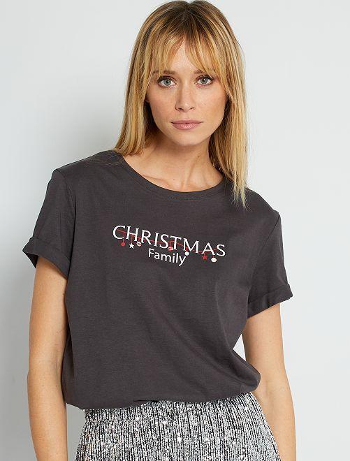 T-shirt de Noël + pochon éco-conçu                                                                 gris