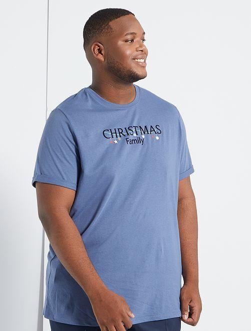 T-shirt de Noël + sac cadeau éco-conçu                                                     bleu gris