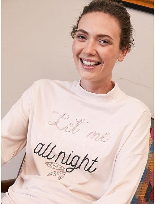 T-shirt de nuit brodé                     beige