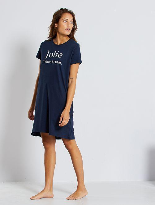 T-shirt de nuit éco-conçu                                                         bleu marine