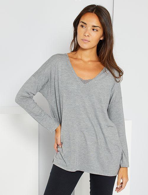 T-shirt de nuit fluide                                                     gris chiné