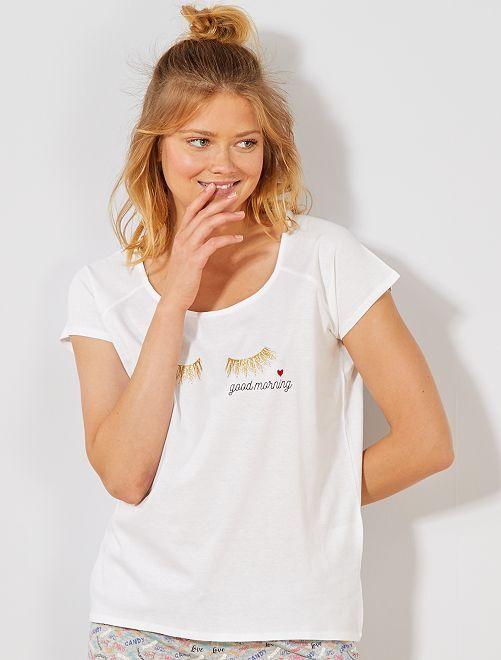 T-shirt de nuit imprimé                                         blanc Lingerie du s au xxl