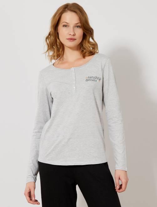 T-shirt de nuit motifs poitrine                                         gris clair chiné Lingerie du s au xxl