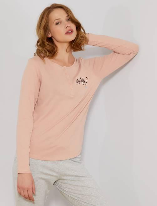 T-shirt de nuit motifs poitrine                             rose pâle Lingerie du s au xxl