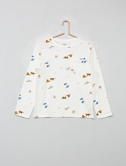 T-shirt de pyjama animaux                                         écru/tigre