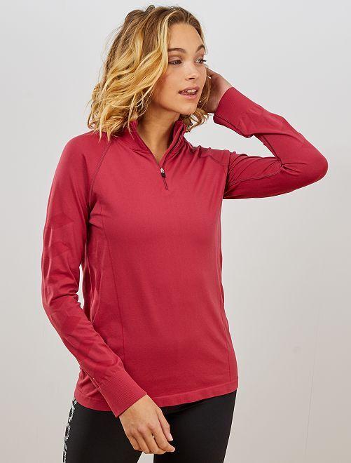 T-shirt de sport col montant                                                                 rouge foncé