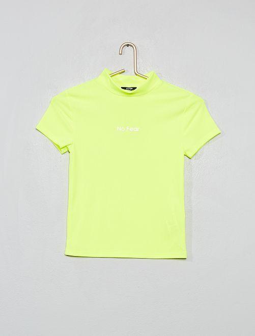 T-shirt de sport en maille côtelée                                         jaune fluo
