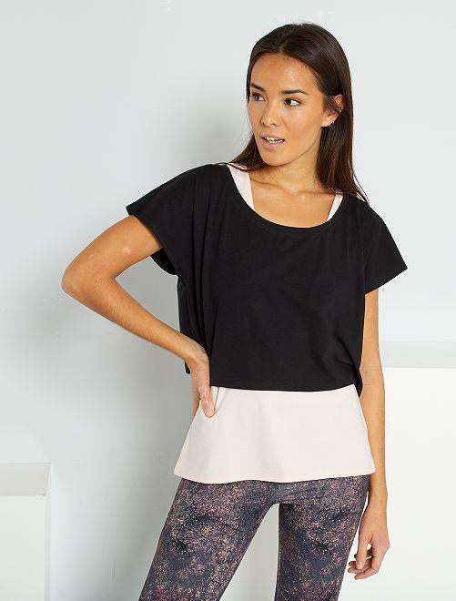 T-shirt de yoga 2 en 1                                         noir