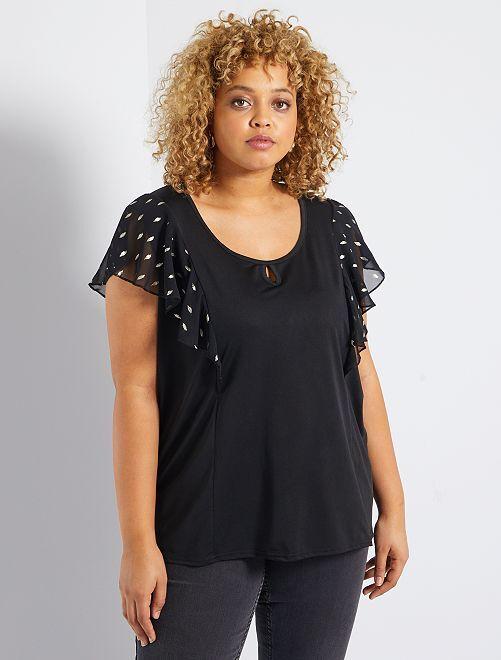 T-shirt décolleté goutte                             noir/doré