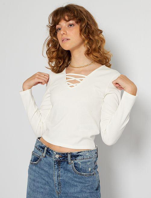 T-shirt décolleté lacé                                                     blanc