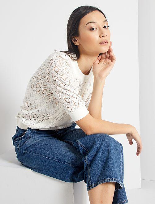 T-shirt dentelle et bords côtes                                         blanc