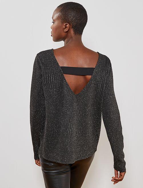 T-shirt détail brillant                             noir