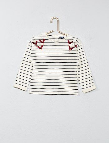 T-shirt détail brodé - Kiabi