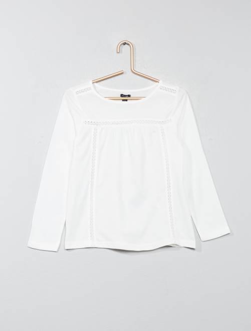 T-shirt détail dentelle                                                                                                     blanc Fille