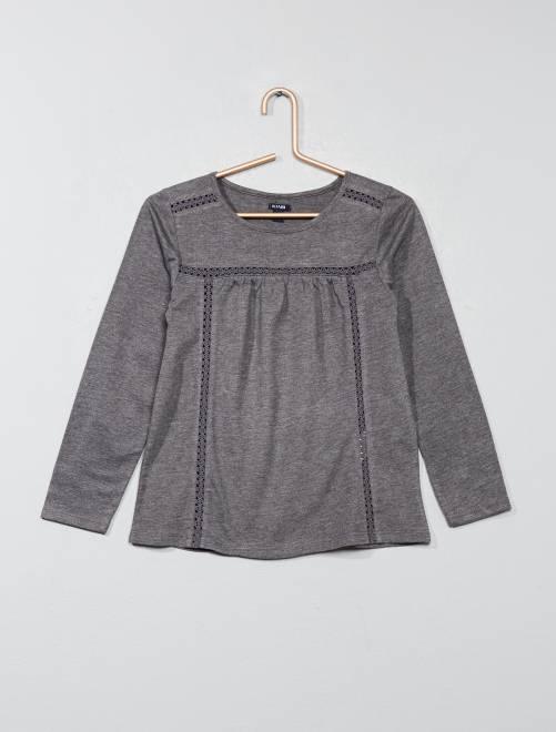 T-shirt détail dentelle                                                                                                     GRIS Fille