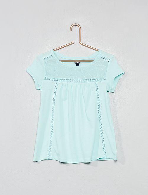 T-shirt détail macramé                                                                             bleu clair