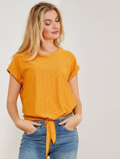T-shirt détails ajourés                                         JAUNE Femme