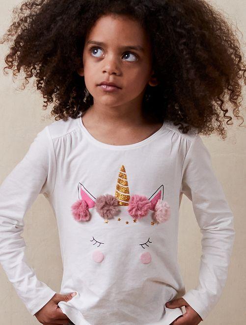 T-shirt détails fausse fourrure                                 blanc cassé Fille