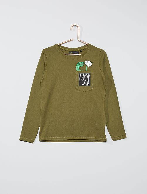 T-shirt 'dino' éco-conçu                             kaki