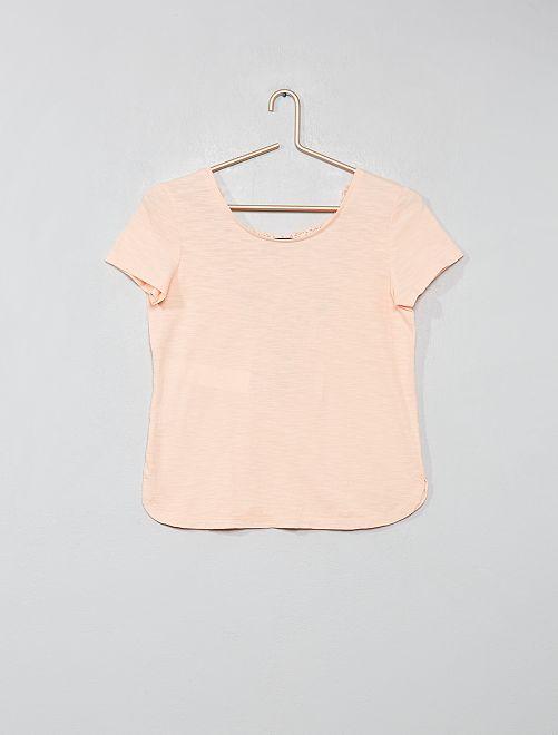 T-shirt dos en macramé                             pêche Fille adolescente