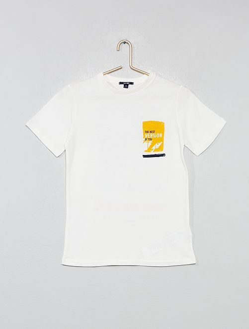 T-shirt dos imprimé                                                                 écru