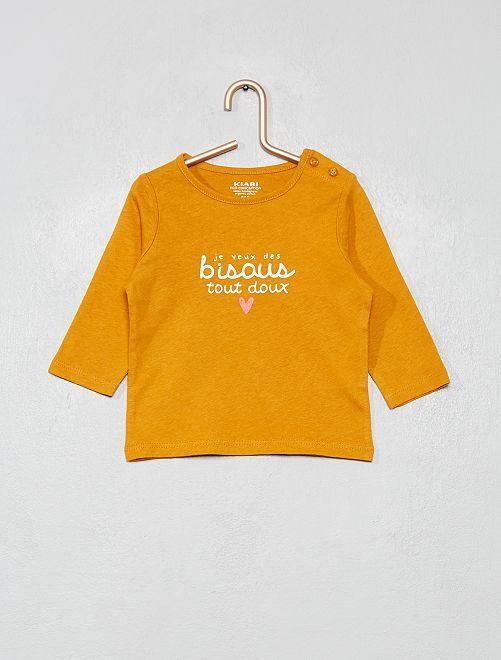 T-shirt 'éco-conception' à message                                                                                         jaune