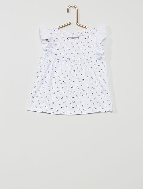 T-shirt 'éco-conception'                                                                                                                             blanc/fleur