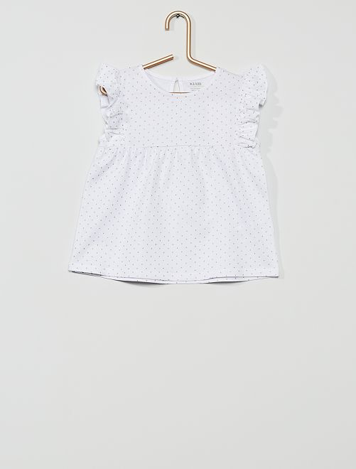 T-shirt 'éco-conception'                                                                                 blanc/pois