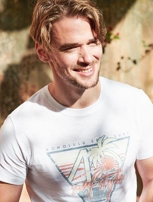 T-shirt Eco-conception coton bio                                                                                                                                                     blanc surf Homme