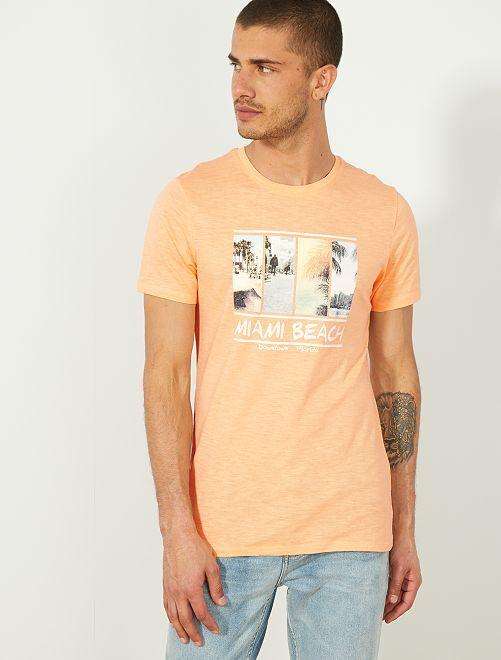 6ecf314d01b30 T-shirt Eco-conception coton bio Homme - orange pâle - Kiabi - 1,80€